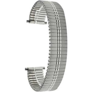 Top view of Silver Tone Expansion Band, Metal Stretch Strap, Straight End