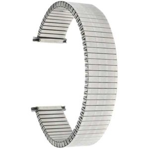 Top view of Silver Tone Mens Silver Tone Metal Stretch Watch Band, Stainless Expansion Strap