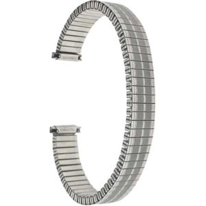 Top view of Silver Tone Womens Stretch Band, Metal Expansion Watch Strap, Straight End