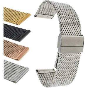 Bandini MCX13 | Mens Stainless Steel Mesh Band, Adjusting Metal Watch Strap, Milanese