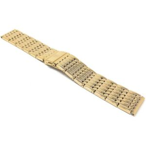 Top view of Gold Tone 22mm Stainless Steel Watch Band for Men, Metal Watch Strap, Gold Tone
