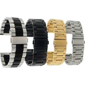 Bandini MET.238 | Mens Metal Watch Band, Silver, Gold, Black, Black/Silver
