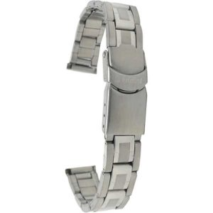 Open view of Silver Tone Ladies Stainless Steel Watch Band, Deployment