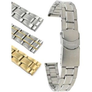 Bandini MET.376   Womens Metal Watch Strap, Deployment, Silver and Gold Straps