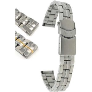 Bandini MET.409   Womens Steel Watch Strap, Deployment, Silver and Gold Straps