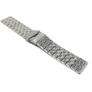 Bandini MET.575 | 24mm Metal Watch Band for Men, Silver Tone Metal Watch Strap