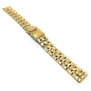 Angle view of Gold Tone Womens Steel Watch Bracelet, Womens Metal Replacement Strap, Deployment