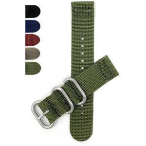 Bandini NYL200 | Nylon Nato Style Watch Band, 2 Piece Strap, Hook and Loop Buckles
