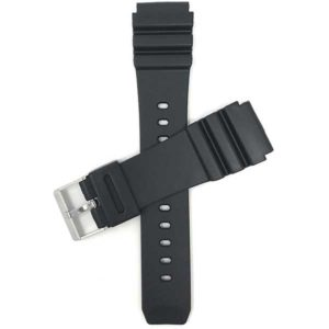 Top view of Black Black Rubber Watch Band for Casio Marine Gear AMW320 or Seiko Diver with Stainless Steel Buckle