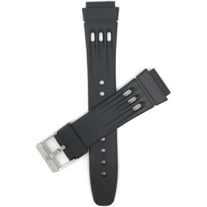 Top view of Black Black Rubber Sports Watch Strap, 3 Grooves with Stainless Steel Buckle