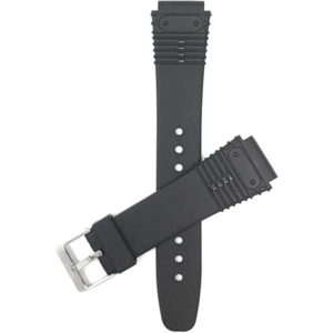 Top view of Black Black Rubber Sports Watch Band, Grooves with Stainless Steel Buckle