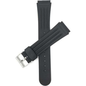 Top view of Black Black Ribbed Rubber Sports Watch Band with Stainless Steel Buckle