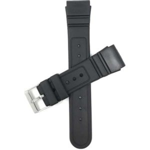 Top view of Black 22mm Mens Black Rippled and Etched Rubber Sports Watch Strap with Stainless Steel Buckle