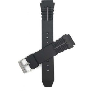 Top view of Black Black Rubber Sports Watch Strap, Ripples and Indents with Stainless Steel Buckle