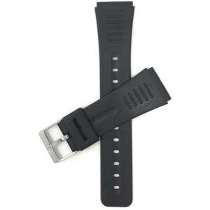 Top view of Black 22mm Mens Black Rubber Watch Band with Stainless Steel Buckle