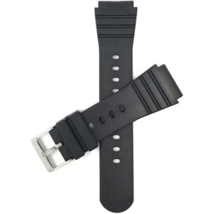 Top view of Black 22mm Black Mens Rubber Sports Watch Band Fits Casio, Timex and More with Stainless Steel Buckle