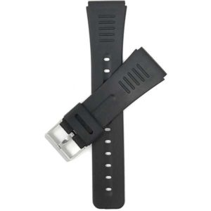 Top view of Black Black Rubber Watch Band Fits Casio Databank and More with Stainless Steel Buckle