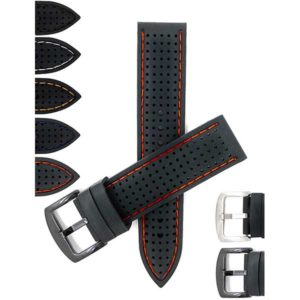 Bandini SIL.185 | Mens 22mm Silicone Rally Watch Strap, Perforated Racing Band