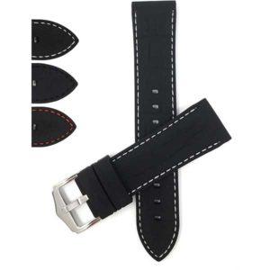 Bandini SIL.125   Soft Rubber Silicone Watch Strap, Alligator Pattern with Stitch, Waterproof