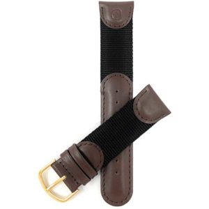 Top view of Brown Brown Vintage Leather / Nylon Watch Band for Swiss Army - 20mm, Brown / Black with Gold Tone Buckle
